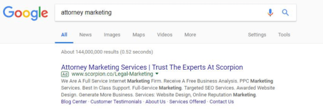 Google PPC ad snippet